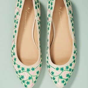Anthropologie Embroidered Floral Wine Ballet Flats